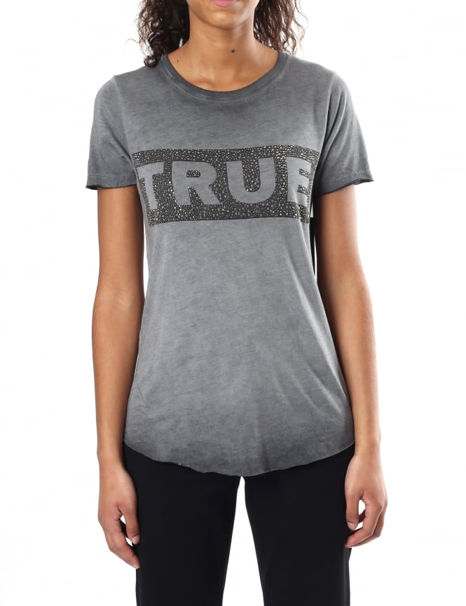 True Religion Women's Boxy Crew Neck Tee