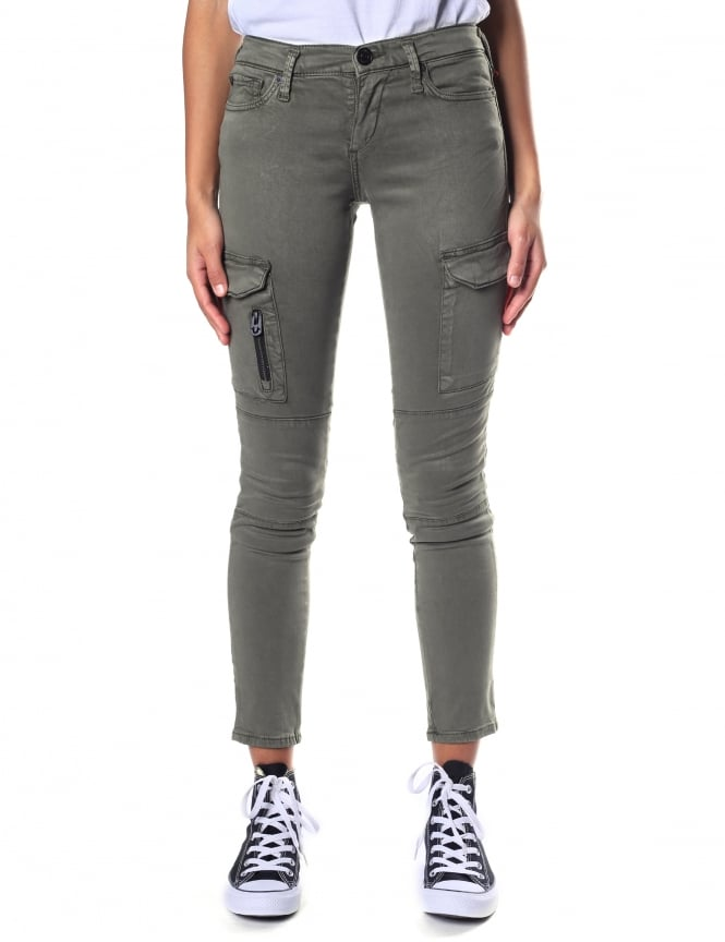 True Religion Women's Halle Mid Rise Super Skinny Cargo Trousers