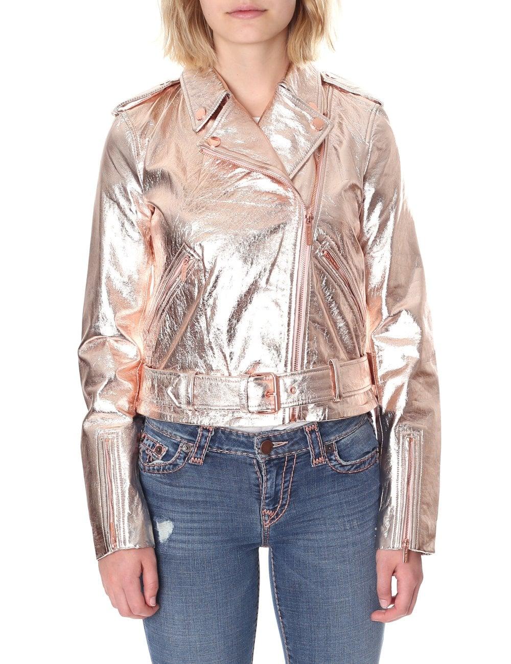 True Religion Womens Metallic Moto Leather Jacket Women039s