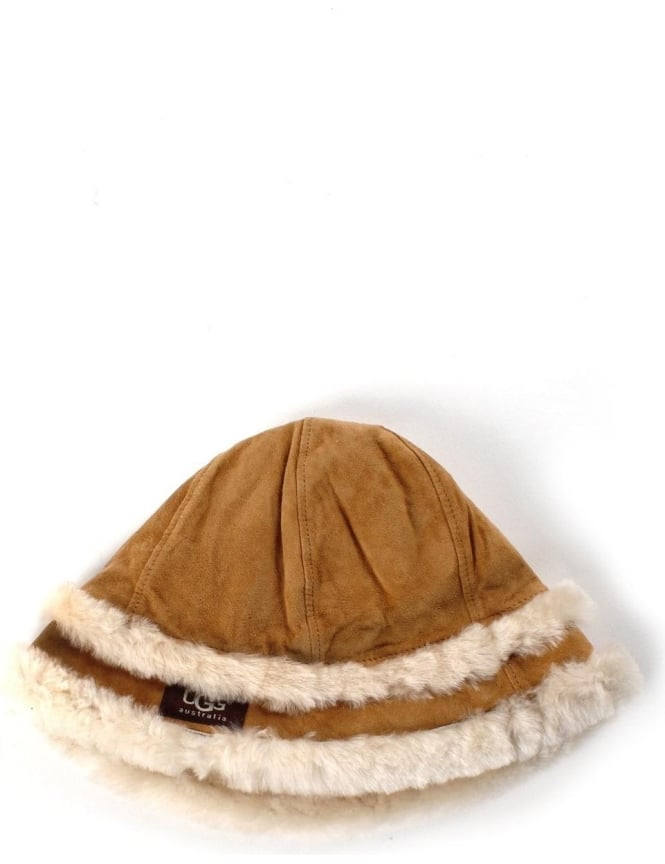 UGG City Women's Bucket Hat With Shearling Chestnut
