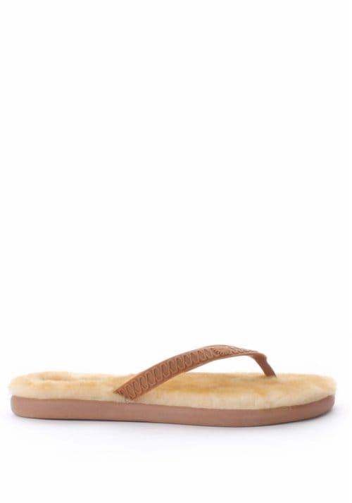 UGG Fluffie Women's Fur Sole Flip Flop Chestnut