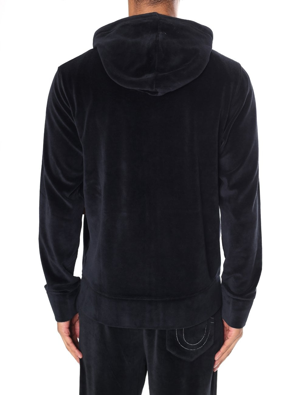 0032e2951 True Religion Men s Velour Zip Up Hoodie Black