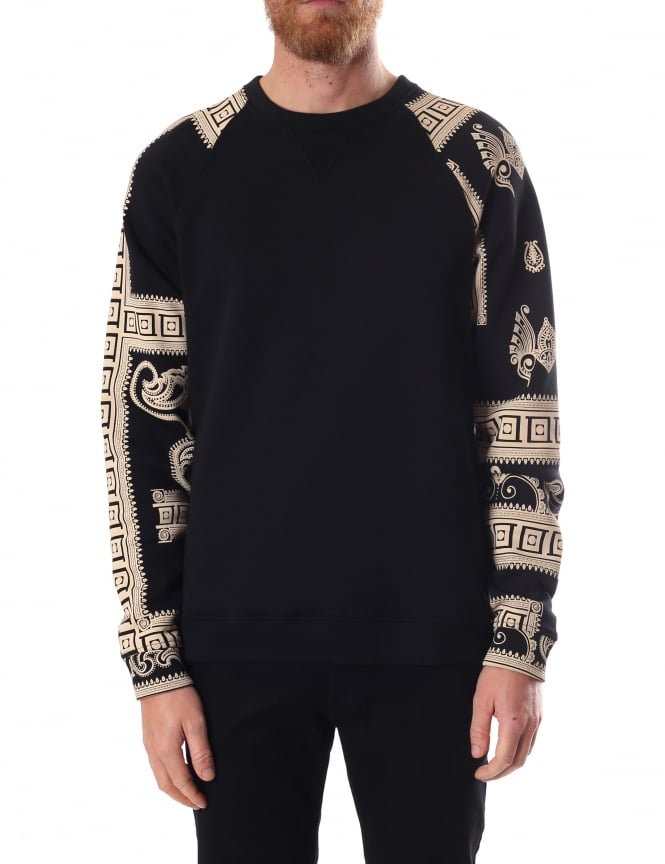 Versace Collection Grecian Style Men's Print Sleeve Sweat Top
