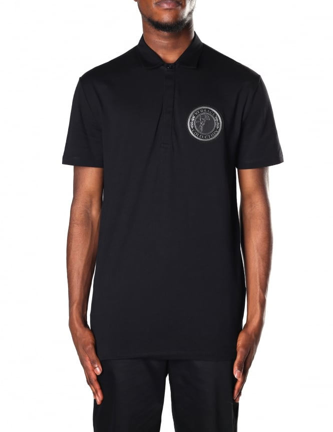 Versace Collection Logo Badge Men's Short Sleeve Polo Top