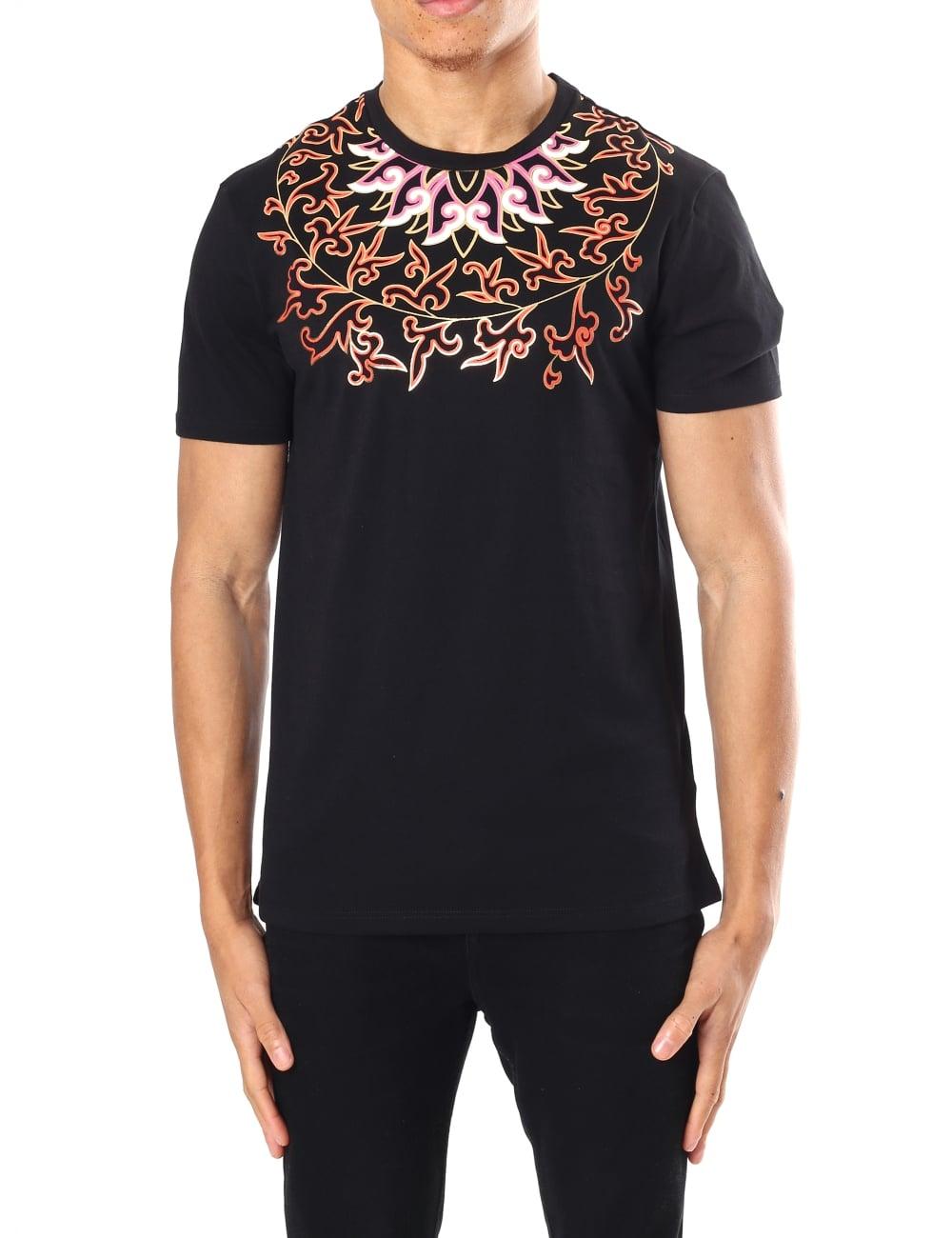 Versace Collection Men's Floral Print Crew Neck Short ...