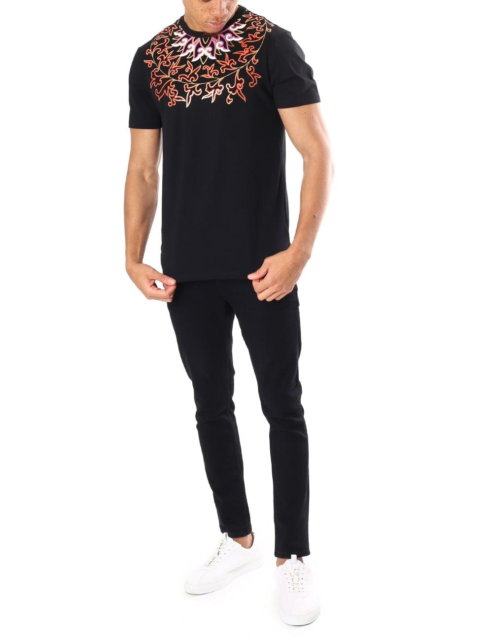 843aa9d6ed Versace Collection Men's Floral Print Crew Neck Short Sleeve T-Shirt