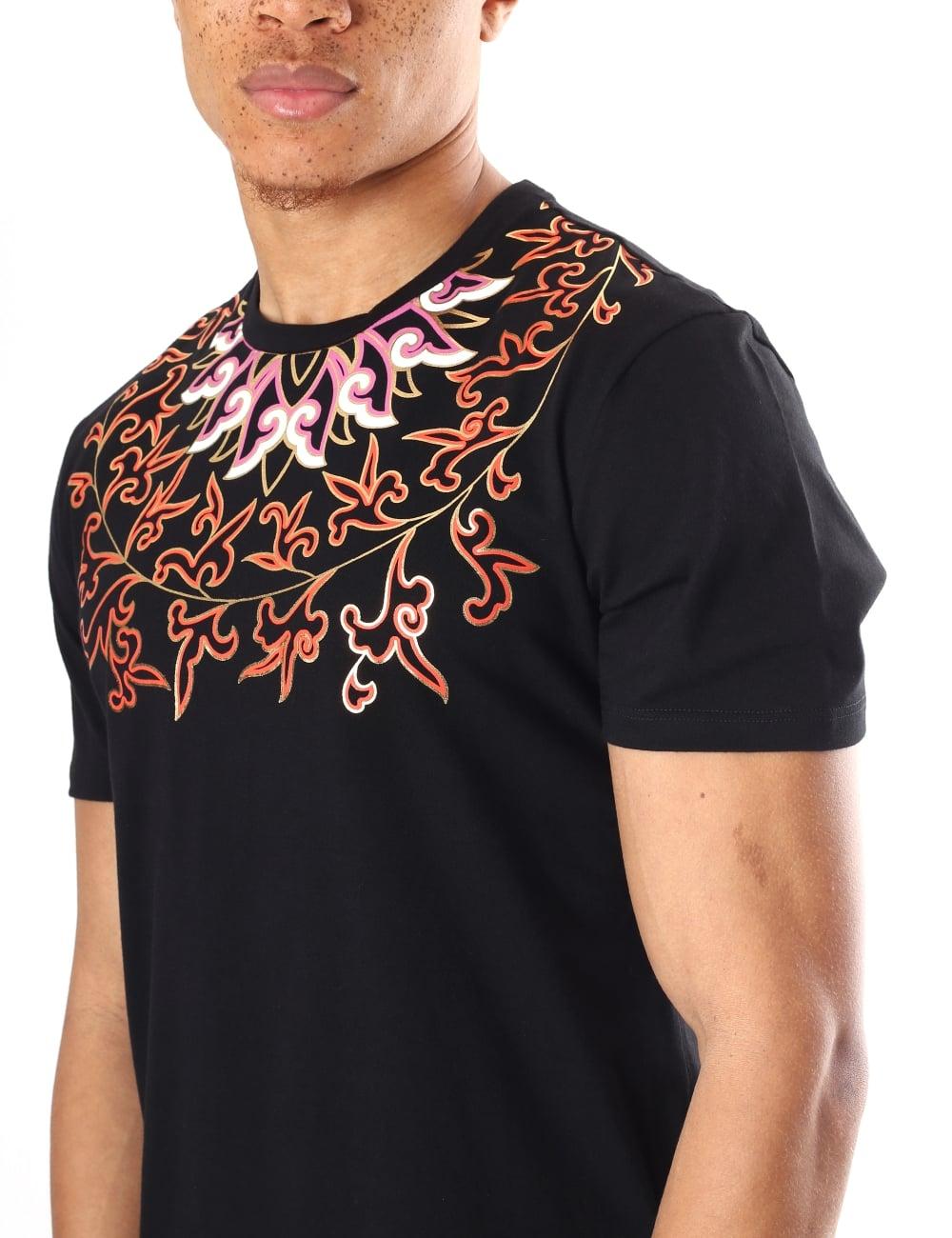 964a9c95 Versace Collection Men's Floral Print Crew Neck Short Sleeve T-Shirt
