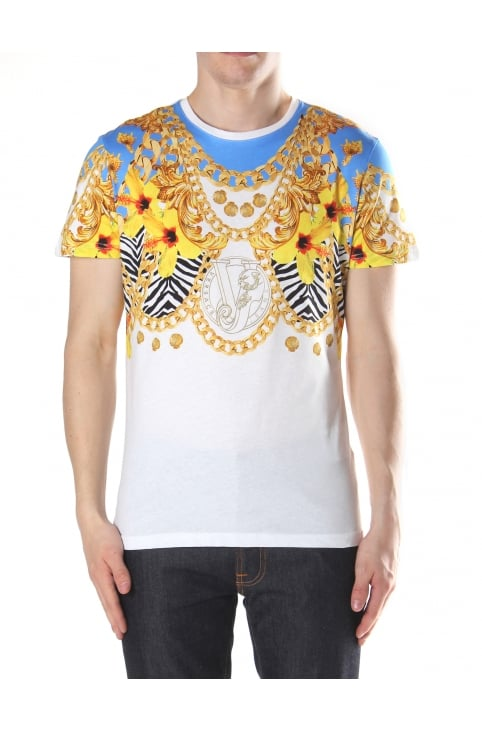Chain Flower Print Men's Crew Neck Tee