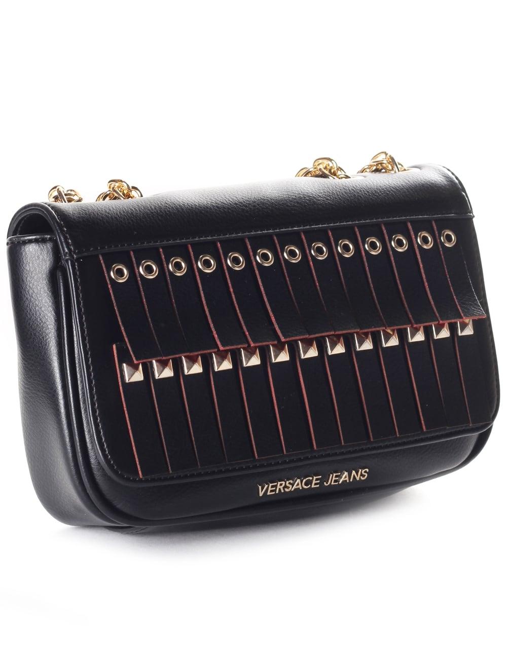 Versace Jeans Chain Strap Women s Tassel Crossbody Bag Black 30d964e73b405