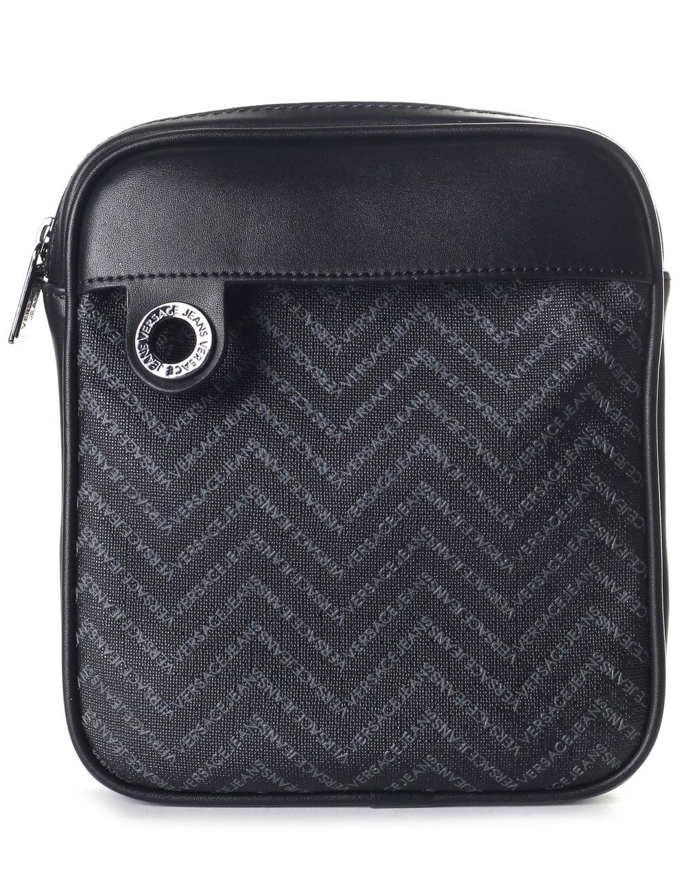 Versace Jeans Chevron Print Men s Crossbody Bag Black 776ebad9f21d0