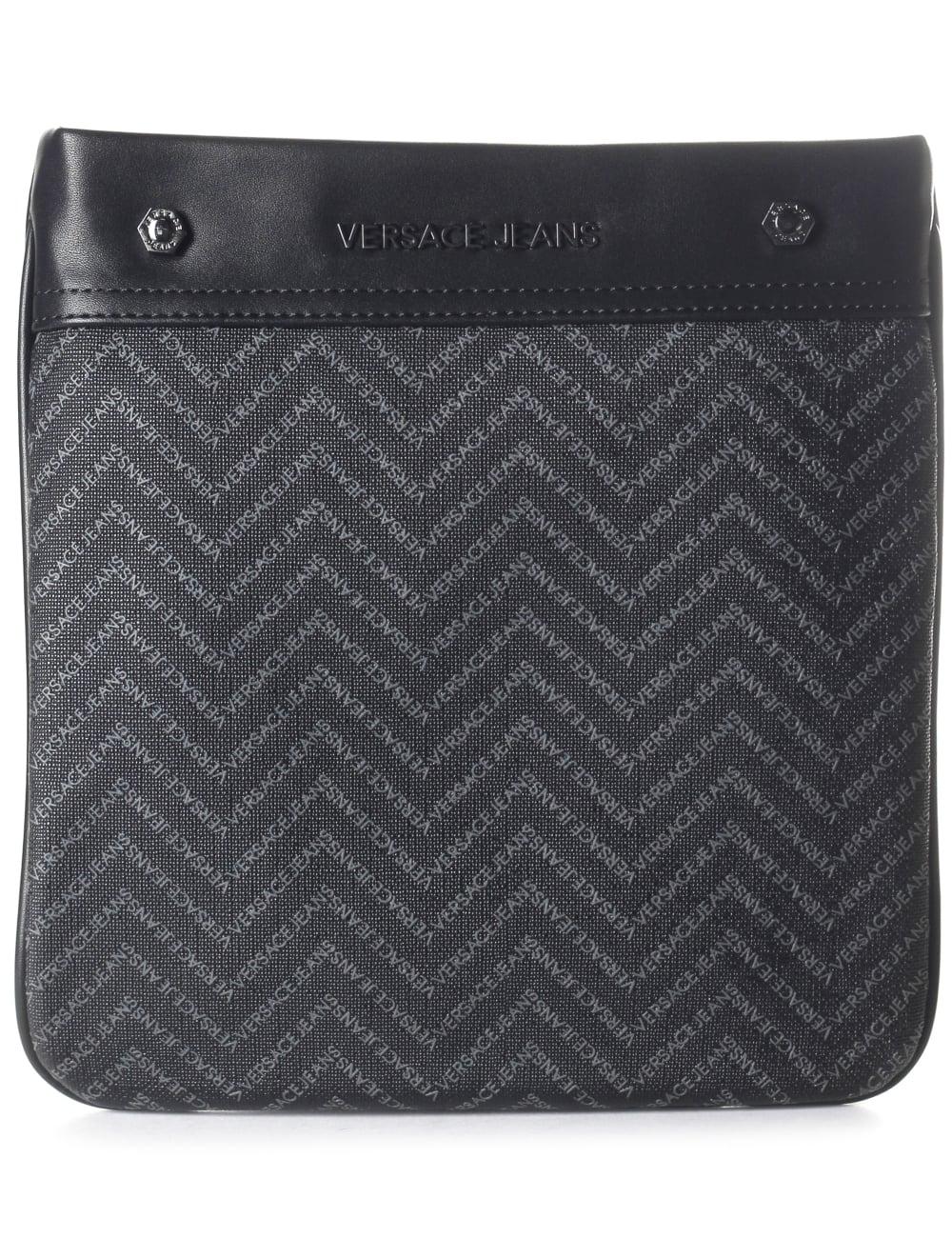 Versace Jeans Chevron Print Men s Satchel Bag Black 305b0cae8d