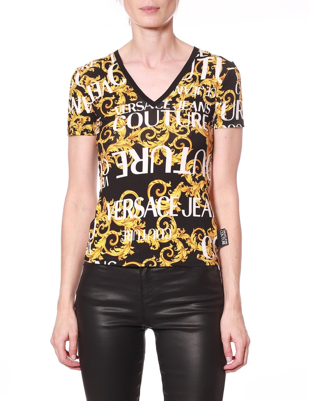 60dceb106c VERSACE JEANS COUTURE V-Neck Baroque Print Logo Tee