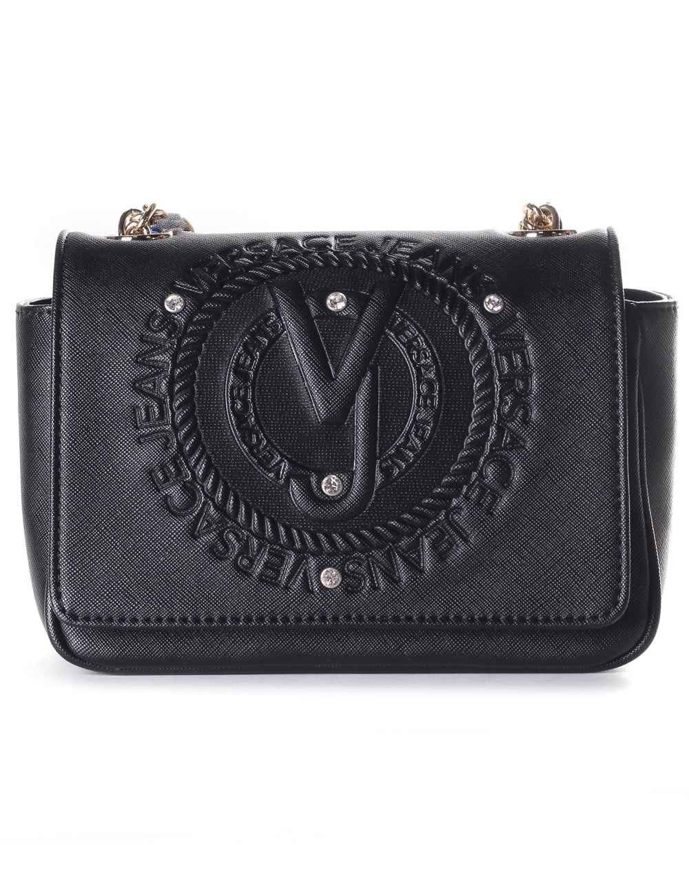 Versace Jeans Embossed Logo Women s Chain Strap Bag Black 23f1ce8776