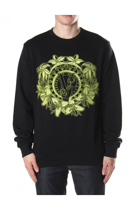 Embroidered Flower Men's Sweat Top