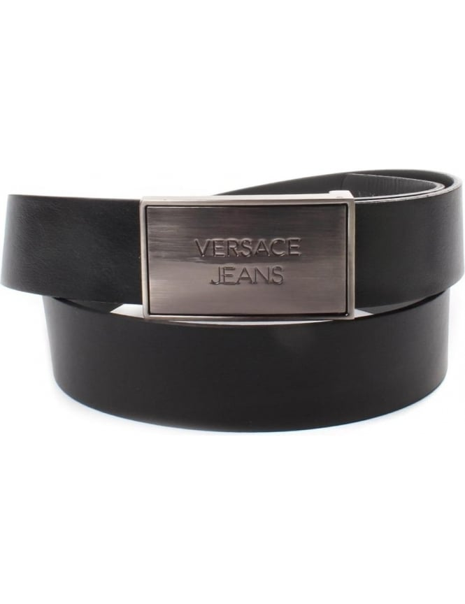 Versace Jeans Logo Men's Buckle Belt Black