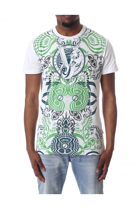 Men's VJ Tiger Pattern Crew Neck Short Sleeve Tee
