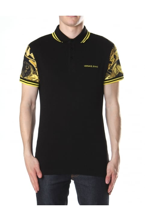 Printed Sleeve Men's Polo Top