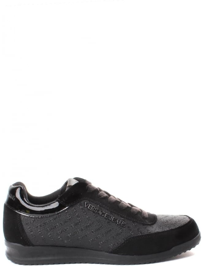 Versace Jeans Repeat Logo Men's Lace Up Trainer Black