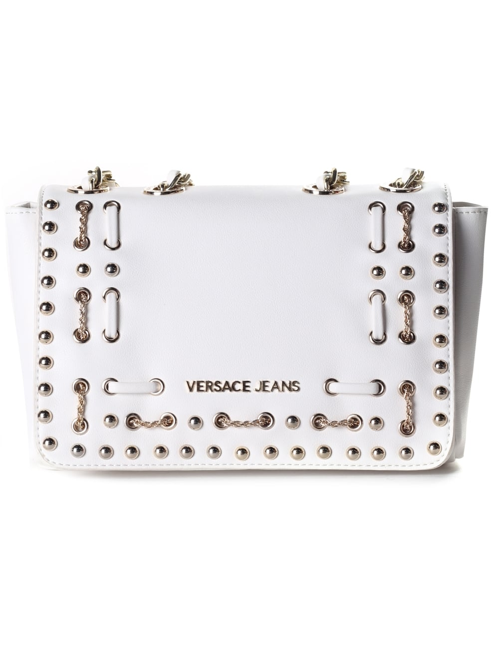 8fdc8d31eb8b Versace Jeans Small Studded Women s Chain Strap bag White