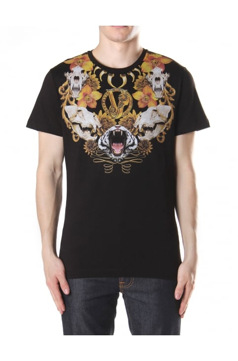 Teeth And Flower Print Crew Neck Tee