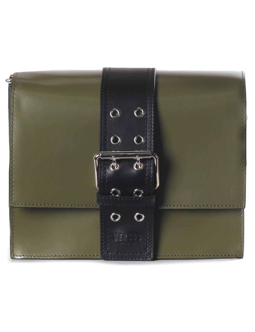 352b471fe5 Versus Versace Buckled Women s Shoulder Bag Military Green Black