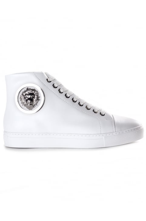 Lion Head Women's Hi Top Leather Trainers Optic White