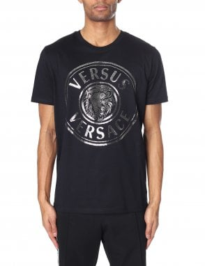 d8e57a38 Versus Versace BU90104 Men's All Over Printed T-Shirt Black/Gold