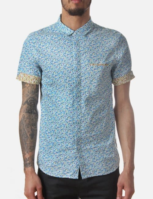 Jayce men 39 s floral shirt blue for Blue floral shirt mens