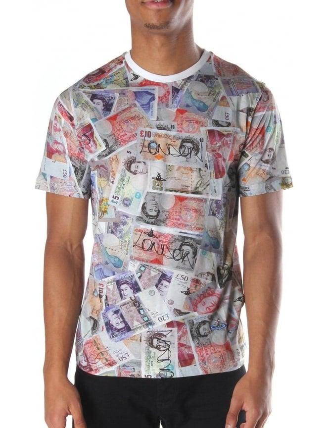 Vivienne Westwood Mens T Shirtz White Money Print - T-Shirts