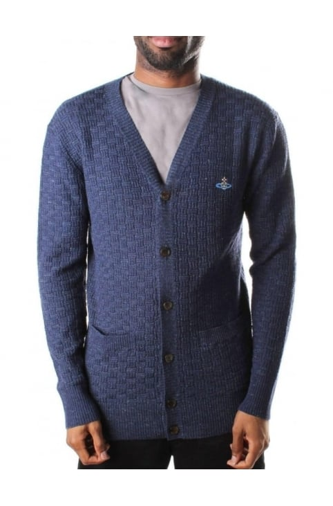 Button Through Men's Textured Cardigan Navy