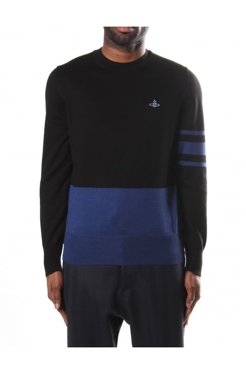 Colour Block Men's Round Neck Knit