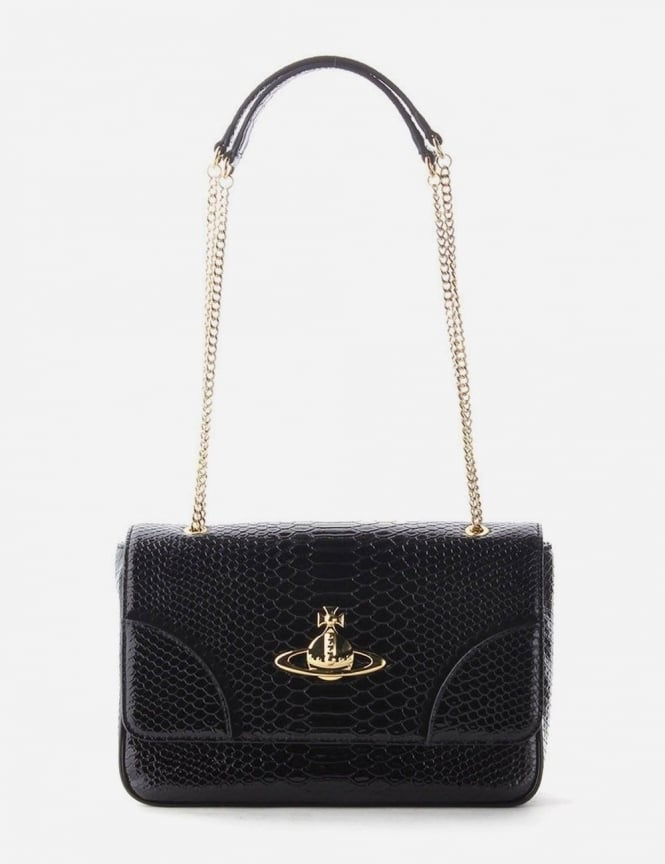 b89a3a4655b Frilly Snake Women's Chain Bag Black