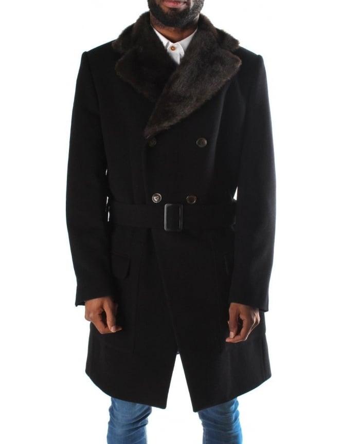 Mens coat with white fur collar