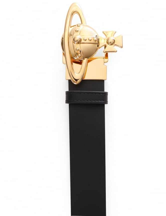 Vivienne Westwood Men's Gold Orb Leather Belt
