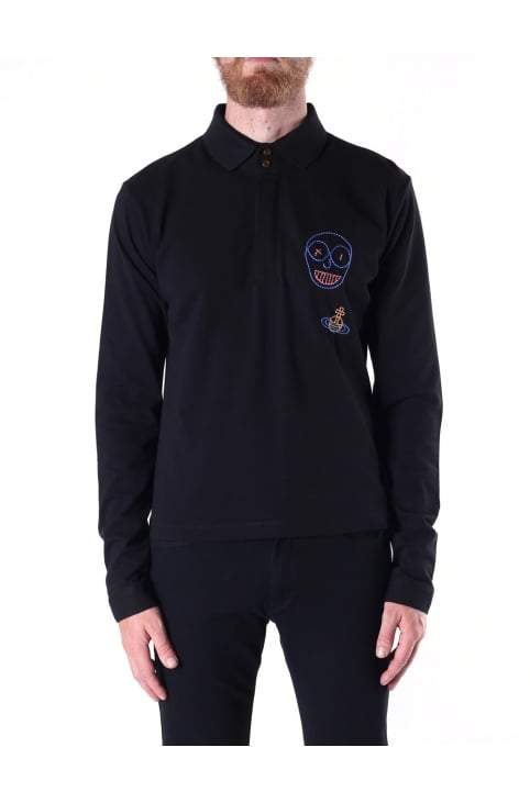 Men's Long Sleeve Embroidered Polo Top