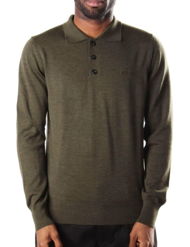 Vivienne Westwood Men's Long Sleeve Knitted Polo Top Olive