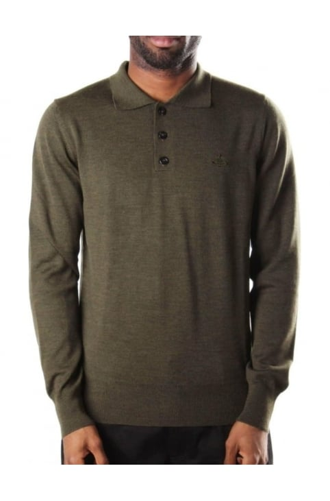 Men's Long Sleeve Knitted Polo Top Olive