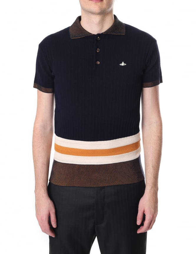 Vivienne Westwood Men's Ribbed Knit Polo Top