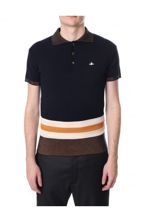 Men's Ribbed Knit Polo Top