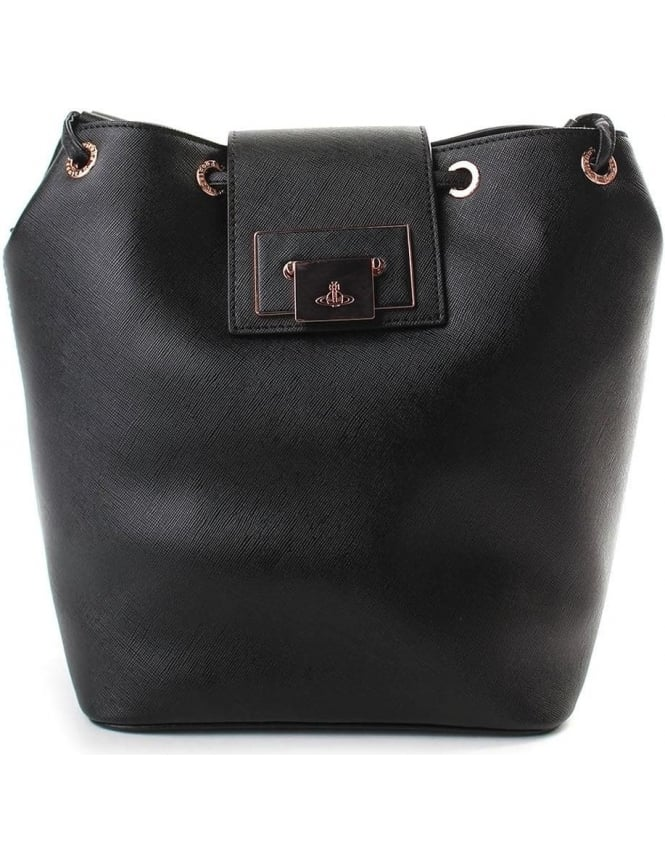 9ee2df4b98 Vivienne Westwood Opio Saffiano Women's Large Bucket Bag Black