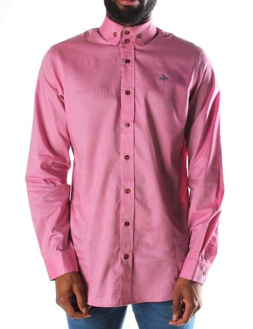 Vivienne westwood orb logo men 39 s long sleeve shirt pink for Mens pink long sleeve shirt