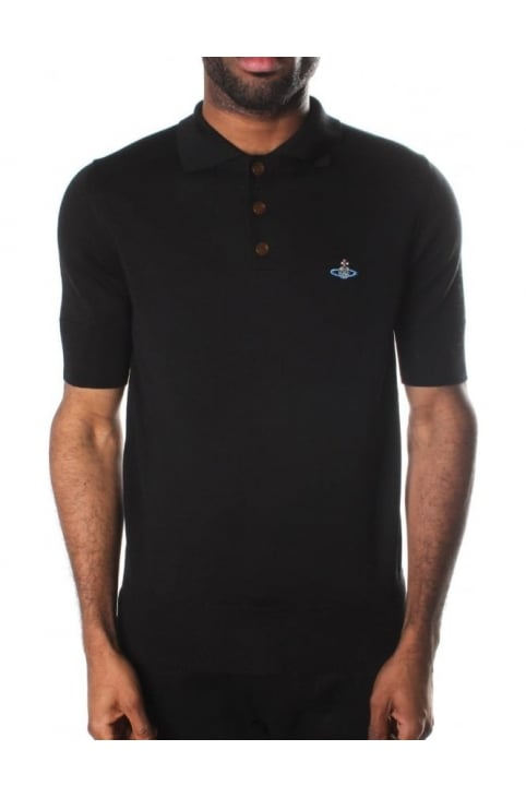 Short Sleeve Men's Polo Top Black