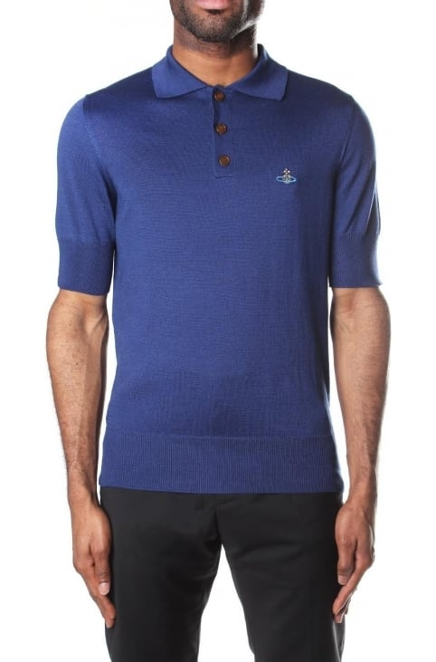 Short Sleeve Men's Polo Top Blue