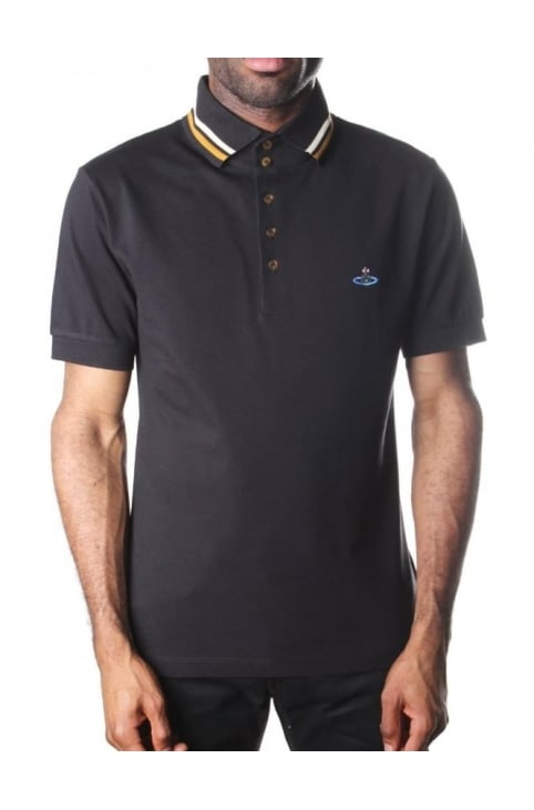 Tipped Collar Men's Short Sleeve Polo Top Black