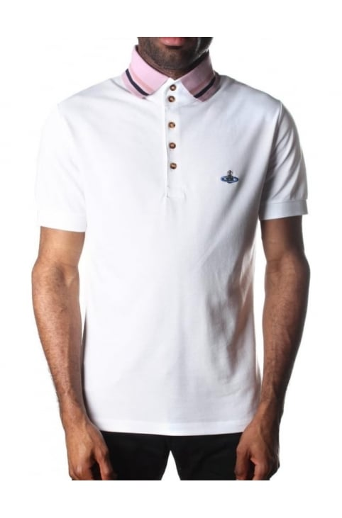 Tipped Collar Men's Short Sleeve Polo Top White