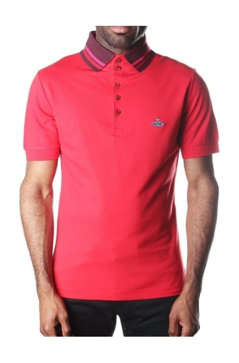 Tipped Collar Men's Short Sleeve Polo Top Red