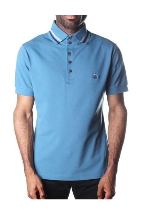 Tipped Collar Men's Short Sleeve Polo Top Blue