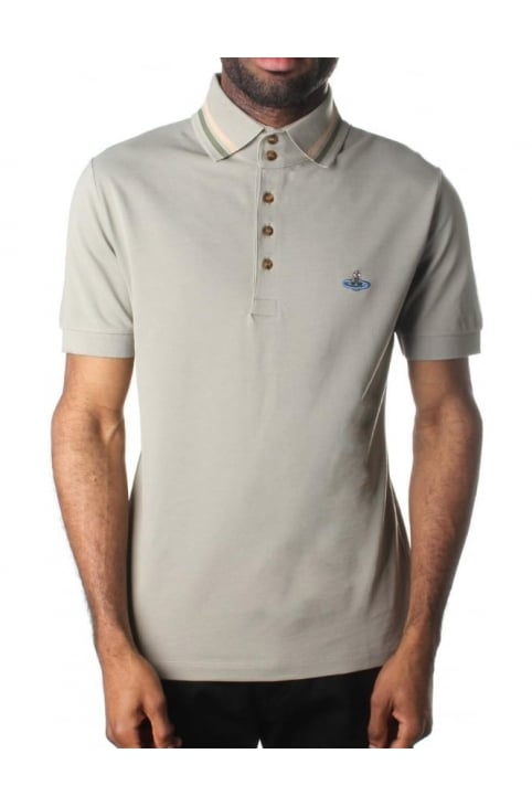 Tipped Collar Men's Short Sleeve Polo Top Plaster