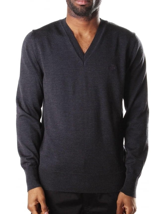 Vivienne Westwood V Neck Men's Pullover Knit Dark Grey