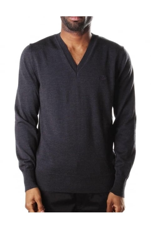 V Neck Men's Pullover Knit Dark Grey